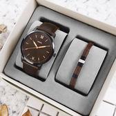 FOSSIL★贈手環 / FS5557SET / Minimalist 輕薄簡約 礦石強化玻璃 真皮手錶 禮盒套組 深褐x黑框 44mm