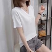 L-4XL胖妹妹大碼短T~胖妹妹冰絲針織短袖大碼女裝V領短袖T恤衫2F114愛尚布衣