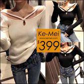 克妹Ke-Mei【ZT49115】心機系 辣翻天性感V字吊頸修身針織上衣