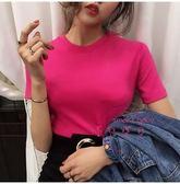 (黑五好物節)新品T恤 基礎款純色素面短袖打底上衣正韓百搭修身短款女裝