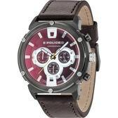 【台南 時代鐘錶 POLICE】義式潮流 強悍態勢 三眼計時腕錶 15047JSU-02 皮帶 深紅/咖啡 50mm
