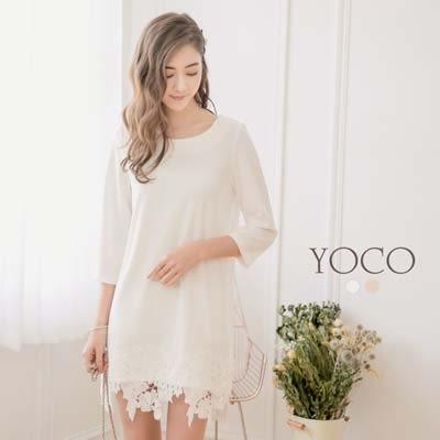 東京著衣【YOCO】法式優雅下襬蕾絲雪紡洋裝-S.M.L(171750)