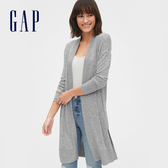 Gap女裝 舒適彈力無扣長版針織外套 544865-淺麻灰色