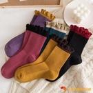 花邊襪子女中筒襪秋冬月子襪純棉木耳邊長筒襪復古堆堆襪【小獅子】