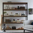 【清祥傢俱】ALF-05LF02-美式仿舊四層置物櫃 書櫃雙面櫃 工業風 實木(下標前,請先詢問有無現貨)