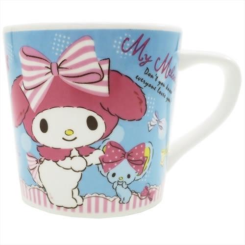 Hamee 原價179 日本正版 三麗鷗 可愛陶瓷馬克杯 把手印花 咖啡杯 交換禮物 (蝴蝶結美樂蒂) 44357N