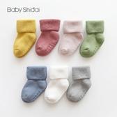 兒童秋冬毛圈加厚襪子寶寶防滑地板襪中筒新生兒學步襪子