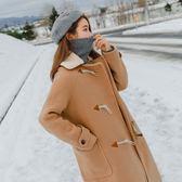 梨卡 - 甜美氣質牛角扣中長版防風保暖毛呢立領外套風衣長大衣/2色AR015-1