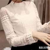 鉤花鏤空上衣OL修身顯瘦長袖立領白色蕾絲襯衫女 qw1201『俏美人大尺碼』