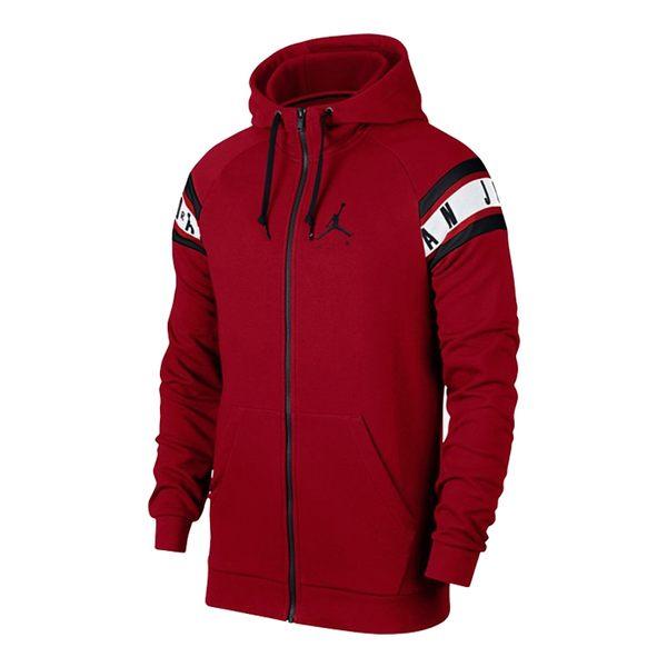 NIKE Jordan Jacket 男 紅 黑 袖子英文LOGO 連帽 外套 AR2249-687 ☆SP☆
