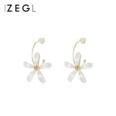 ZENGLIU白色風信子花朵耳環女氣質網紅耳墜百搭清新耳釘銀針耳飾