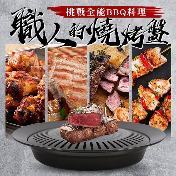 台灣製BBQ圓形不沾烤肉盤燒烤盤韓式烤肉盤(MF0490)