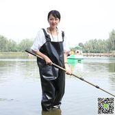 捕魚褲 摸魚釣魚褲下水加厚防水連體捕魚全身水衣涉水耐磨橡膠半身釣魚服 JD 小天使