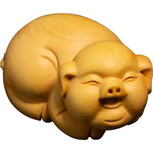 黃楊木可愛豬掛件文玩手把件實木雕刻工藝品招財福豬木雕擺件