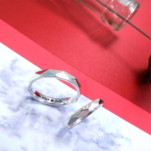 美好相依 菱形切面小鑽刻字對戒 訂製戒指 純銀戒指(一對)