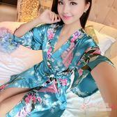 可愛系帶大尺碼睡袍女夏薄款性感仿真絲睡衣浴袍冰絲綢睡裙日式和服睡衣 【快速出貨】