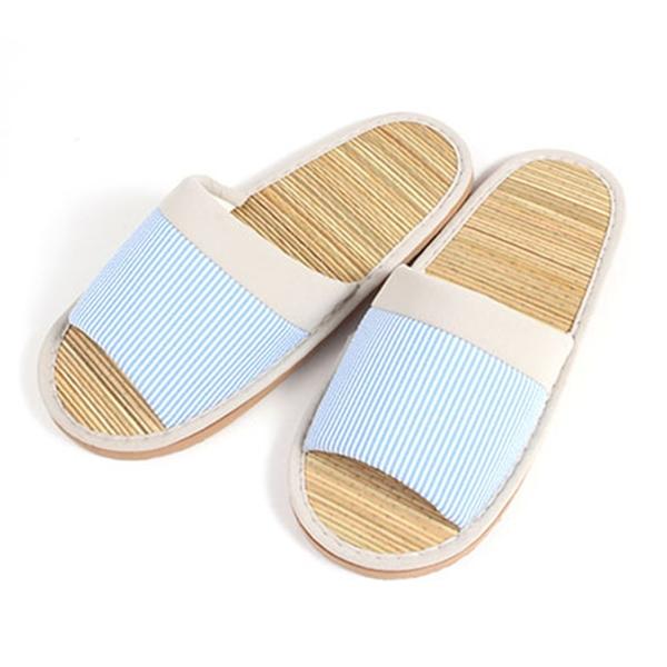 【333家居鞋館】舒適草蓆 線條室內蓆拖鞋-藍色