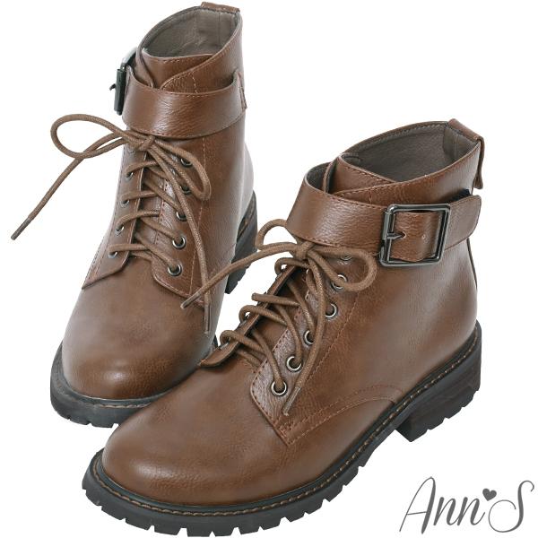 Ann'S帥氣軍靴-銀色扣帶綁帶短靴-咖