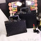 化妝包小號便攜簡約收納盒小方大容量旅行手提硬化妝箱  伊鞋本铺