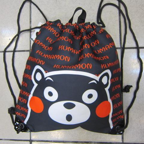 ~雪黛屋~熊本熊 束口後背包大容量可放A4資料夾防水帆布材質隨身包正版限量授權品XKU0003黑