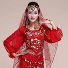 快速出貨肚皮舞配飾頭紗頭鍊印度舞表演出服頭紗巾頭帶頭飾亮片紗巾