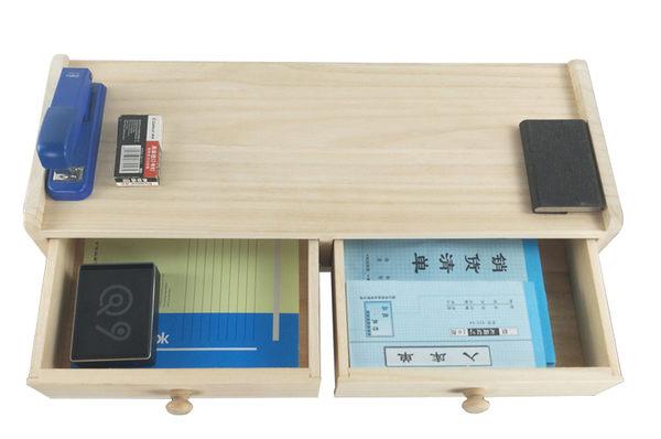 辦公液晶電腦顯示器增高支架實木質雙抽屜式收納櫃防頸椎保護架子 螢幕架 麻吉部落