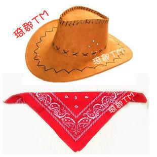 舞會配件西部牛仔帽配紅色牛仔圍巾套裝