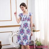 【RED HOUSE-蕾赫斯】滿版花紋蕾絲洋裝(淺藍色)