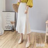 夏季魚尾裙半身裙女韓版中長款雪紡彈力高腰高腰顯瘦性感包臀裙子 AW18091『男神港灣』