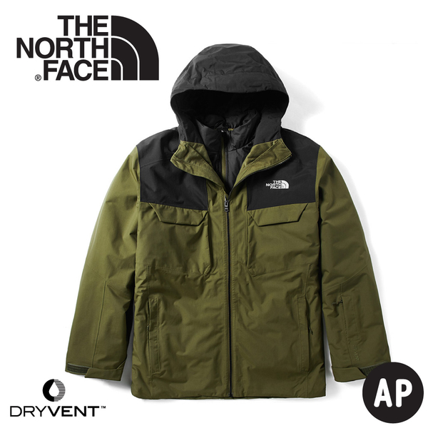 【The North Face 美國 男 DryVent兩件式 防水化纖雪衣外套《軍綠橄欖》】3M4M/防風外套/保暖外套
