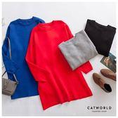 Catworld 正韓空運*圓領縮口袖長版針織上衣【11701173】‧F