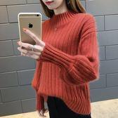 毛衣 2018毛衣冬季新款寬鬆燈籠袖韓版半高領加厚保暖針織打底衫女潮