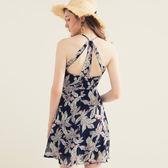 AIR SPACE 熱帶印花露背短洋裝 2色