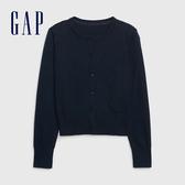 Gap女童 簡約風格純色針織外套 593185-海軍藍