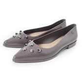 Petite Jolie 金屬鉚釘尖頭果凍娃娃鞋暖灰