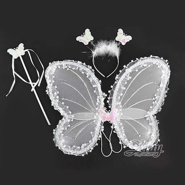 節慶王【W190026】蕾絲蝴蝶三件組-白,髮箍/萬聖節/聖誕節/化妝舞會/變裝/表演/攝影/仙子/精靈