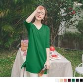 多色系!質感壓紋V領七分袖長版上衣/洋裝--適 XL~5L OrangeBear《AB1093》