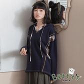 betty's貝蒂思 連帽抽繩側接格紋針織衫(深藍)