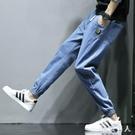 大碼哈倫褲 夏季男士牛仔褲男寬鬆韓版修身褲子男潮胖TA6090【極致男人】
