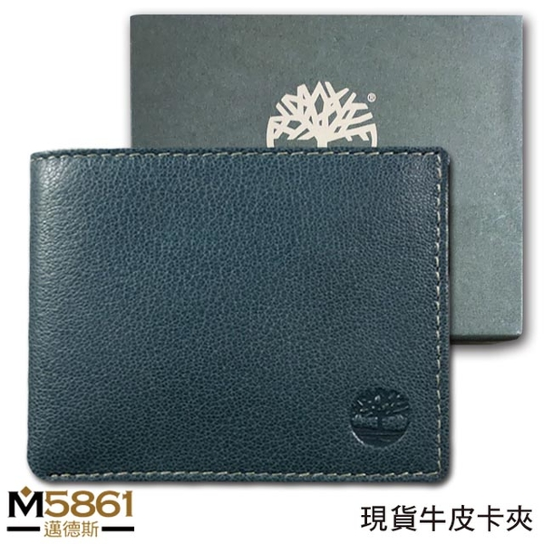 【Timberland】男皮夾 短夾 荔紋牛皮夾 多卡夾 大鈔夾 品牌盒裝/藍色