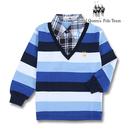 臺灣製假兩件式格紋領藍色條紋長袖POLO衫 RQ POLO 中大童秋冬款[9626]