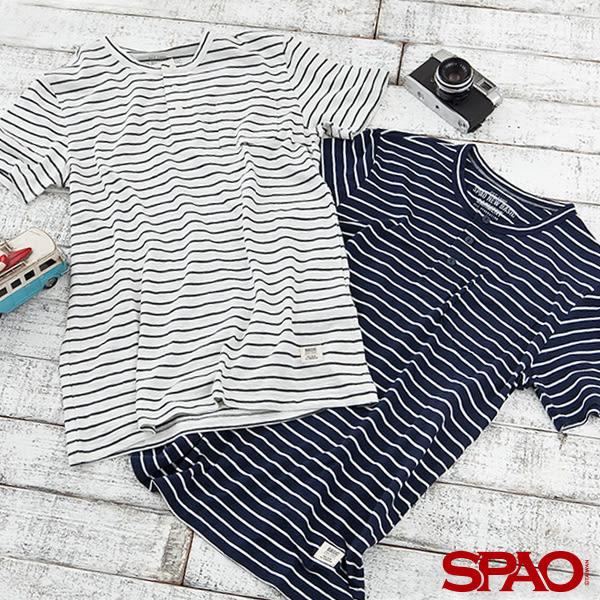 SPAO男款條紋口袋短袖T恤-共2色