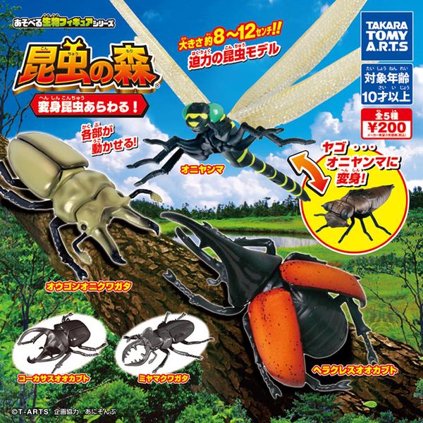 全套5款【日本正版】昆蟲之森 變身昆蟲篇 扭蛋 轉蛋 昆蟲模型 大力士甲蟲 TAKARA TOMY - 890338