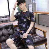 2019男士短袖T恤一套男夏季新款休閒運動套裝潮流五分短褲兩件套寬鬆大碼LZ1878【PINK中大尺碼】