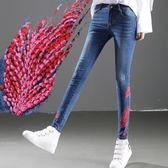 2018民族風刺繡牛仔女長褲大碼彈力修身顯瘦繡花時尚甜美 DN9338【Pink中大尺碼】