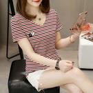 條紋t恤女夏季上衣韓版寬鬆體桖夏天刺繡黑白短袖女體恤 錢夫人
