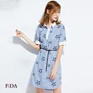 條紋襯衫領連身裙 短袖星星刺繡附腰帶短裙洋裝 -FiDA
