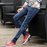 牛仔褲男修身小腳褲青少年韓版潮流男士黑色休閒彈力薄褲子男    琉璃美衣