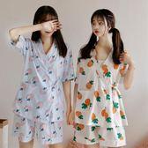2018夏季女裝學生日系和服睡衣甜美家居服套裝兩件套外穿薄款可愛