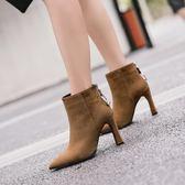 冬季粗跟鞋子 絨面金屬尖頭短靴馬丁靴《小師妹》sm35